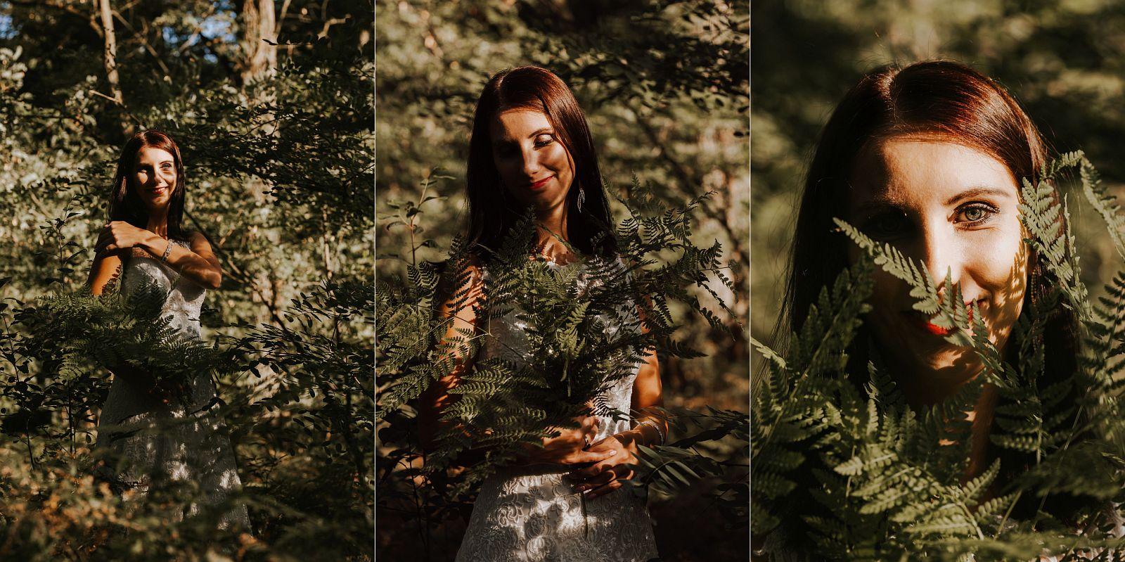sesja ślubna w lesie portret w paprociach