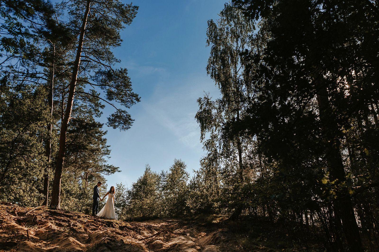 sesja ślubna w lesie pod Legionowiem na wydmach