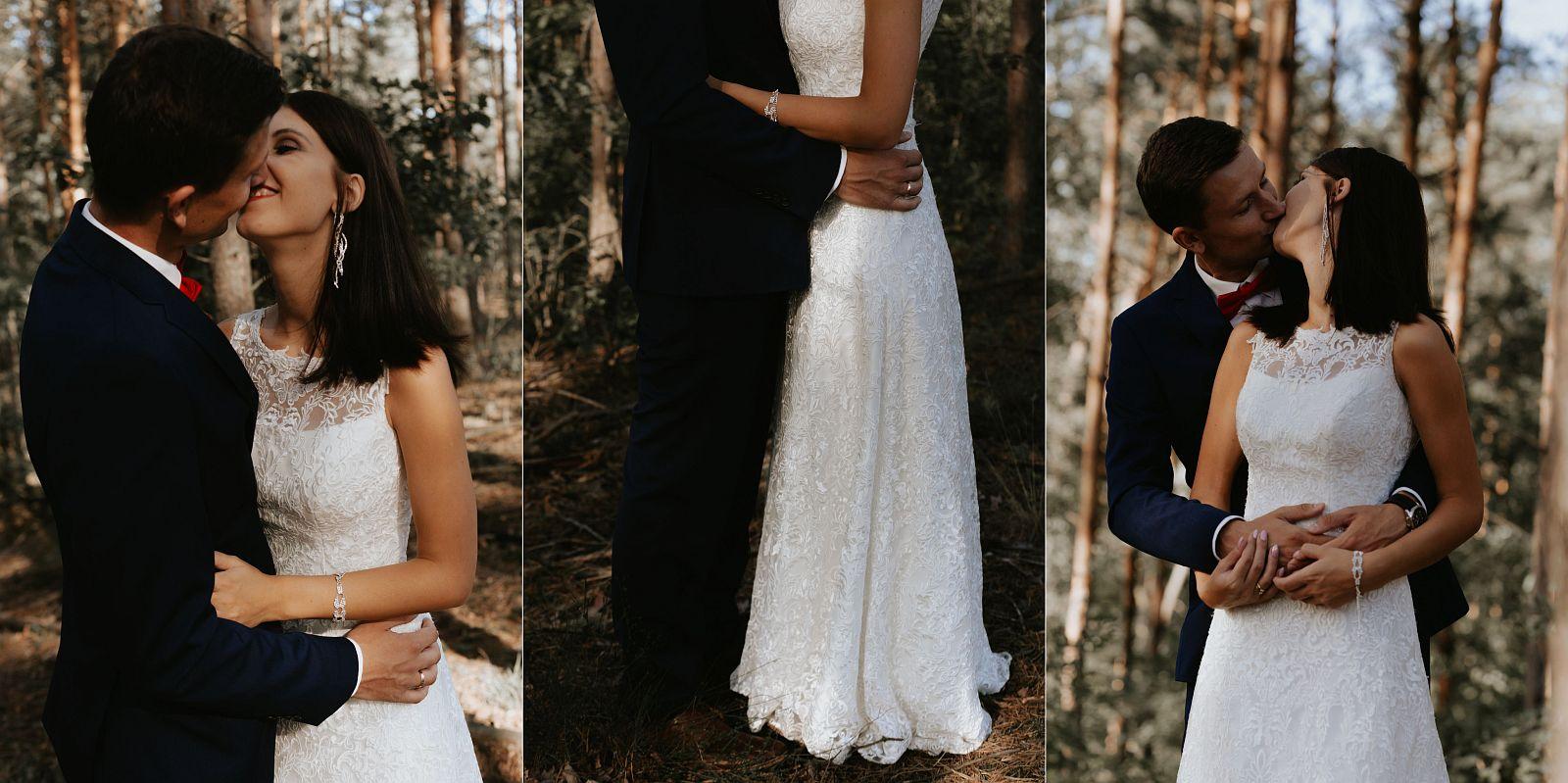 sesja ślubna w lesie emocjonalne pocałunki