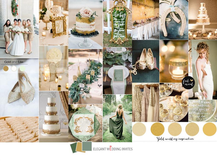 kolor przewodni wesela złoty, zielony