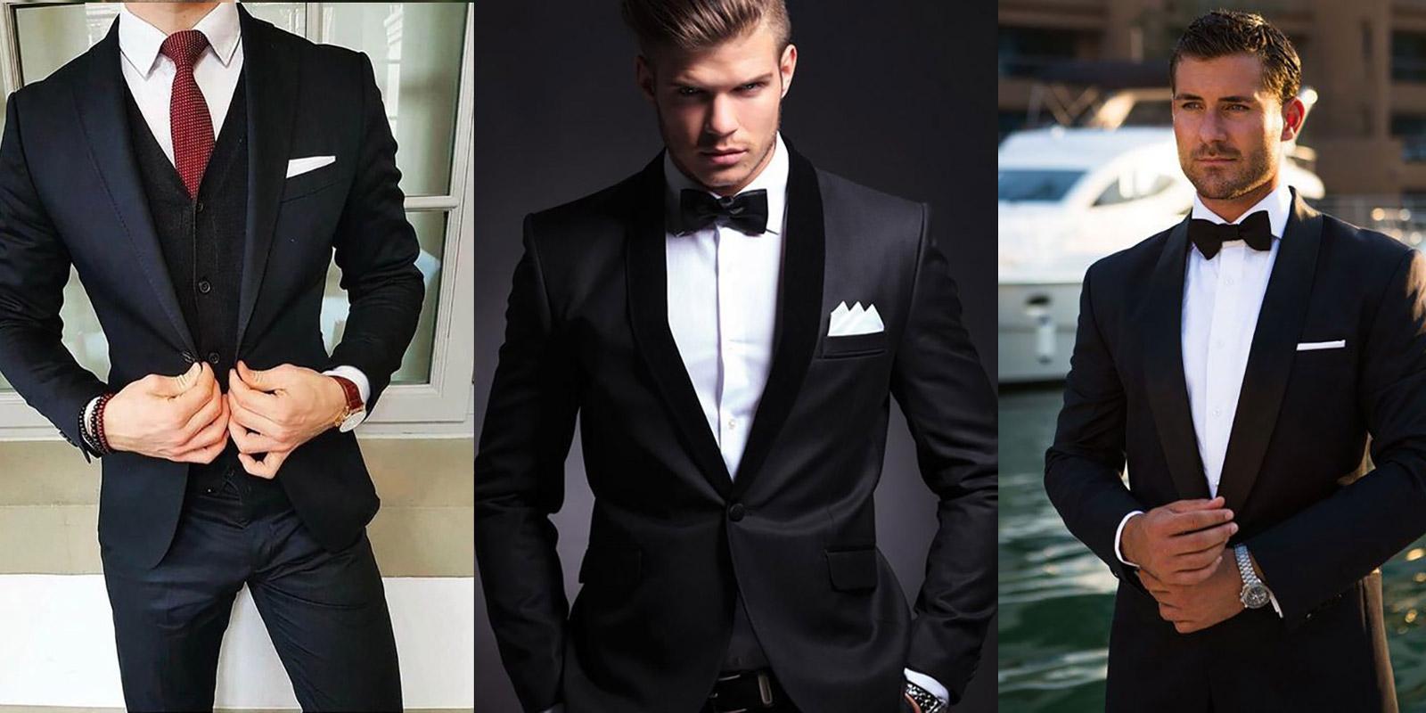 garnitury ślubne czarne modne 2019