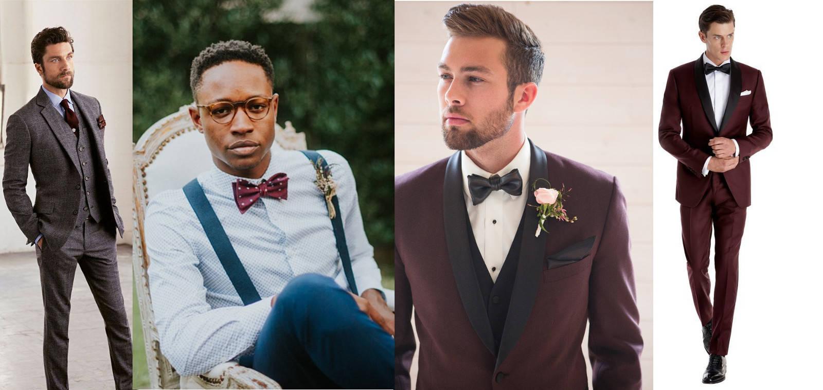 modne garnitury ślubny bordowe pan młody 2019
