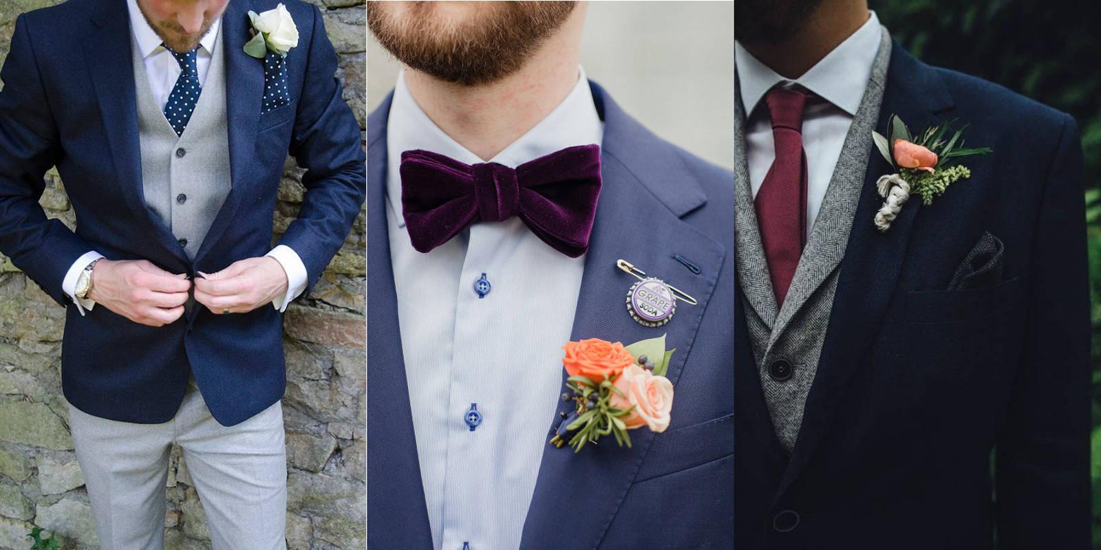 modne garnitury ślubny szaro niebieskie pan młody 2019